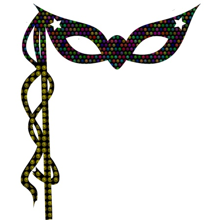 mardi gras mask ornate with colorful shiny beads is used for masquerade in mardi gras parades and parties photo