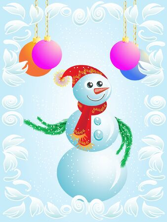 흰 서리: Vector Christmas card  snowman