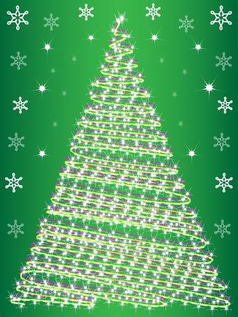 firtree:  vector card  Christmas fir-tree