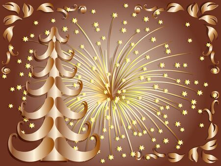 vector illustration:  Christmas gold tree Vector