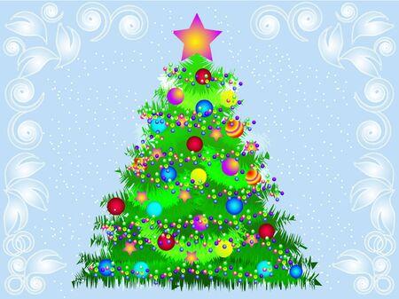 Vector illustration elegant Christmas tree Stock Vector - 11407890
