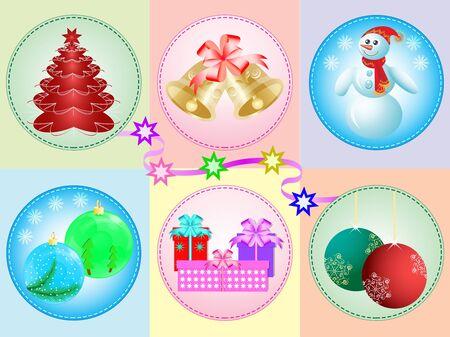 Vector Illustration: vector set of Christmas toys Stock Vector - 11407888
