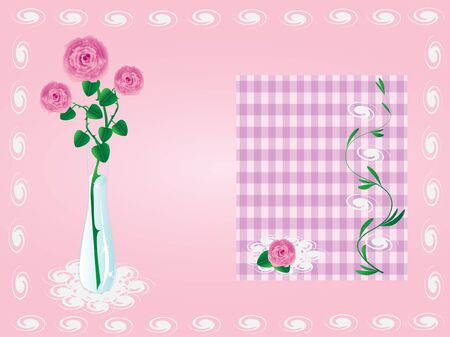 vector card of a rose in a vase on a pink background Vector