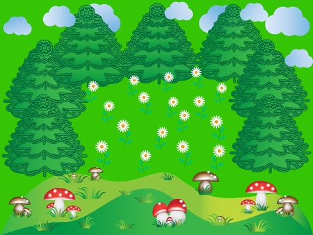 daisy wheel: forest trees with flower background vector Illustration