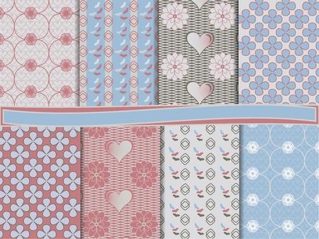 vector set of scrapbook paper for Valentine Illustration