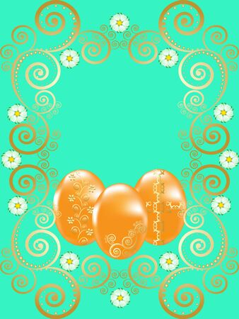 Vector Illustration: Easter eggs with gold ornaments Vector