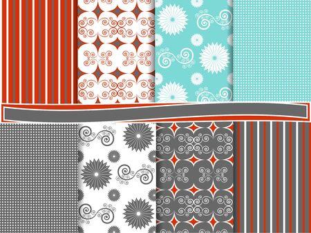 Abstract vector set of scrapbook paper