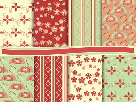 clippings: abstract floral vector set of scrapbook paper