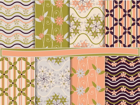 abstract floral vector set of scrapbook paper