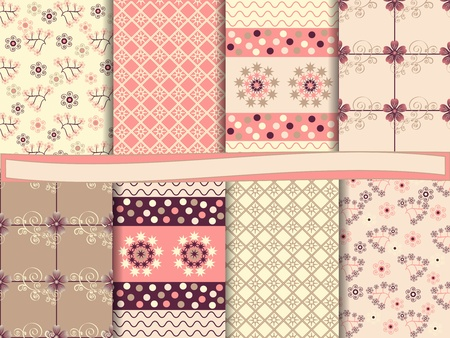 vector set of abstract floral scrapbook Illustration