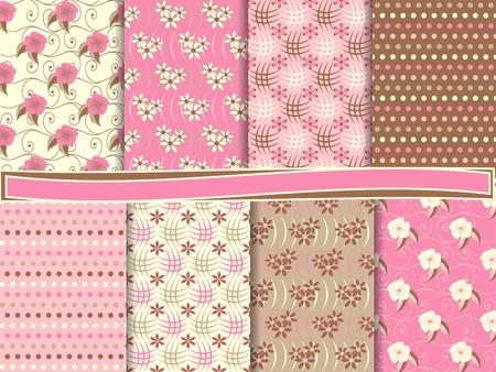 papel scrapbook: vector floral abstracta conjunto de papel de bloc de notas