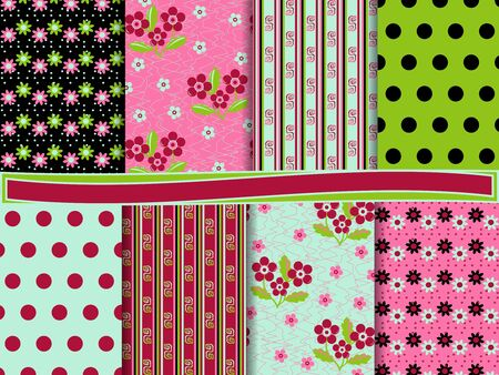 abstract floral vector set of scrapbook paper Vector