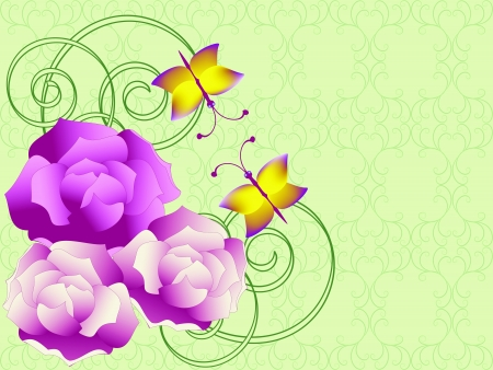 illustration:  card with roses Vector