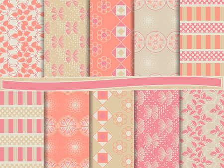 papel scrapbook: Conjunto abstracto de papel del libro de recuerdos Vectores