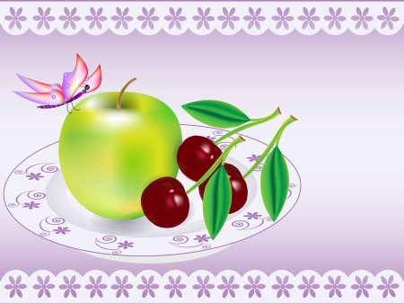 Vector Illustration: apple; cherry on the plate Stock Vector - 13886626