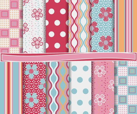 abstract floral set of scrapbook paper Vector
