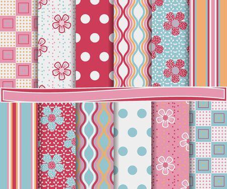 papel scrapbook: conjunto abstracto de flores de papel de bloc de notas