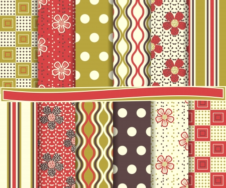 Abstract Floral Set Of Scrapbook Paper Royalty Free Cliparts