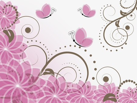 abstract floral illustration with butterflies Illustration