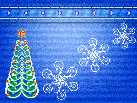 Stylized Christmas tree on jeans background Vector