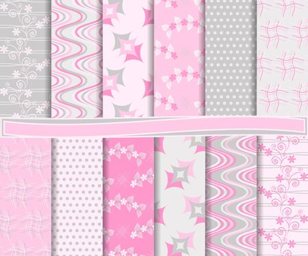 raspberry pink: Abstract set of scrapbook paper