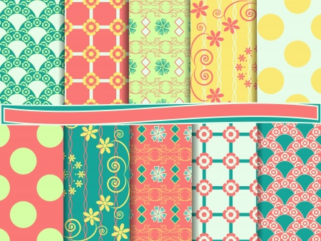 Set Of Abstract Floral Scrapbook Paper Royalty Free Cliparts