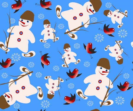 Christmas vector seamless with snowman