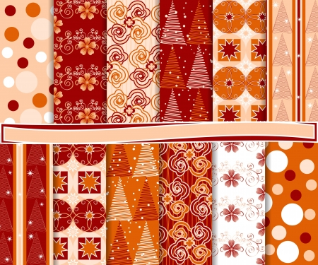 Abstract set of Christmas paper for scrapbook Stock Vector - 15569541