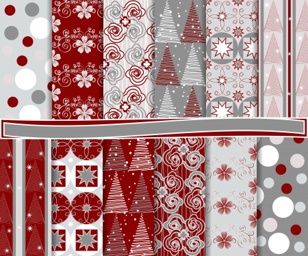 snowflake set: Abstract set of Christmas paper for scrapbook