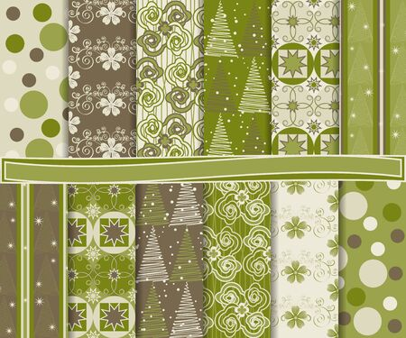 Abstract set of Christmas paper for scrapbook Stock Vector - 15758521