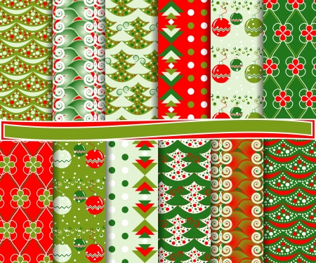 Abstract set of Christmas paper for scrapbooks Vector