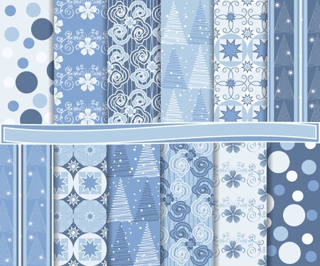 Abstract set of Christmas paper for scrapbook Vector