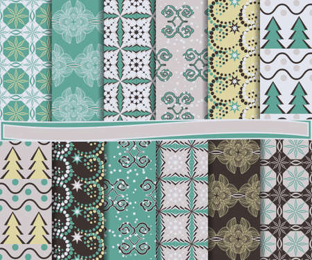 abstract Christmas set of paper for scrapbook Stock Vector - 15870338