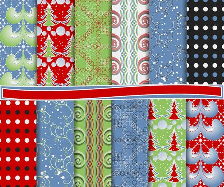 Abstract vector set of Christmas paper for scrapbook Stock Vector - 15976305