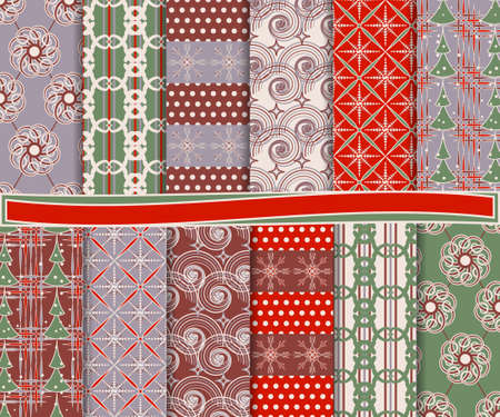 Abstract vector set of Christmas paper for scrapbook Stock Vector - 15976306