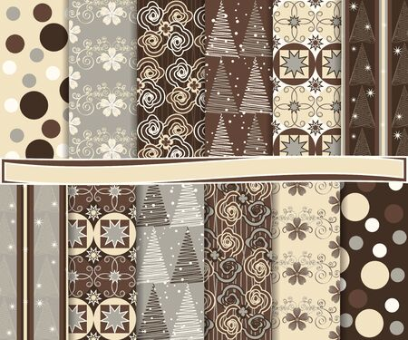 Abstract vector set of Christmas paper for scrapbook Stock Vector - 16145436