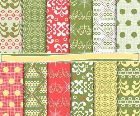 Abstract vector set of Christmas paper for scrapbook Stock Vector - 16145446