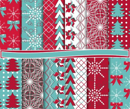 Abstract vector set of Christmas paper for scrapbook Stock Vector - 16258245