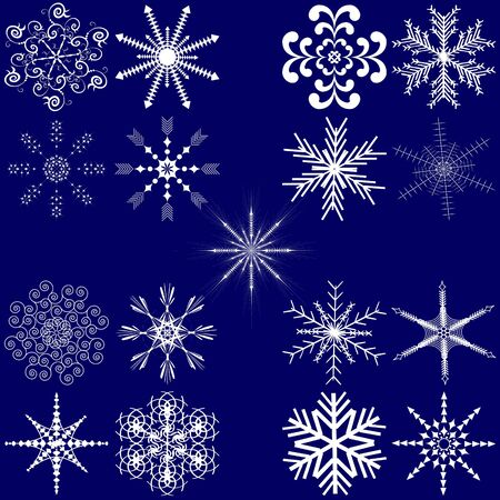 Christmas abstract vector illustration: set of snowflakes Vector