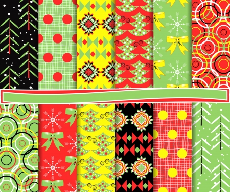Abstract vector set of Christmas paper for scrapbook Stock Vector - 16258381