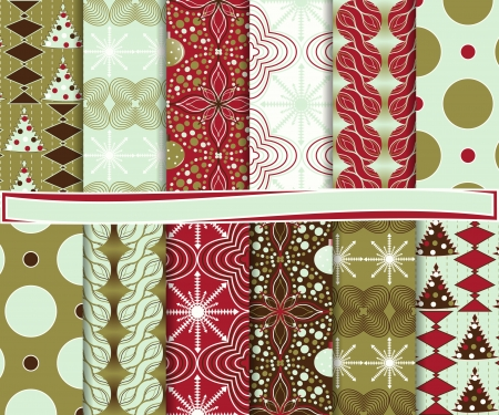 Abstract vector set of Christmas paper for scrapbook Stock Vector - 16258326