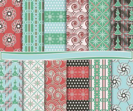 Abstract vector set of Christmas paper for scrapbook Stock Vector - 16364462