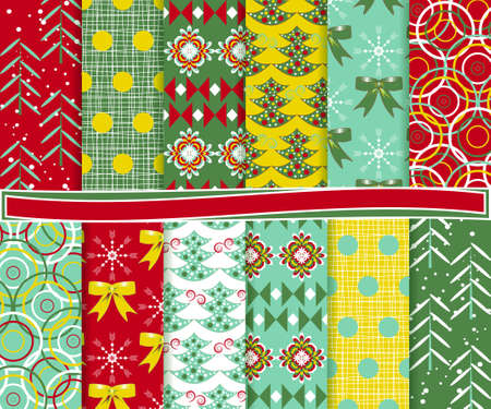 Abstract vector set of Christmas paper for scrapbook Stock Vector - 16451098