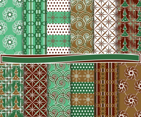 Abstract vector set of Christmas paper for scrapbook Stock Vector - 16481529