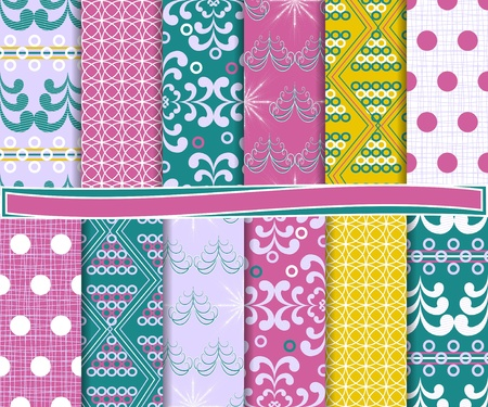 Abstract vector set of Christmas paper for scrapbook Stock Vector - 16481527