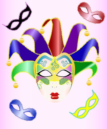 carnival costume: abstract illustration of a Christmas carnival mask