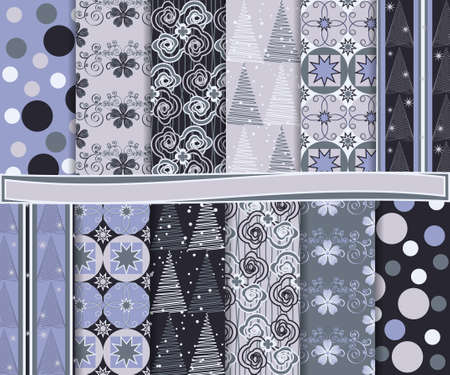 Abstract vector set of Christmas paper for scrapbook Stock Vector - 16728748
