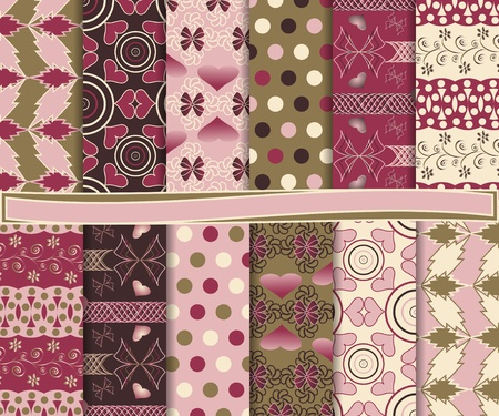 Abstract  set of paper for scrapbook Valentines Day Vector
