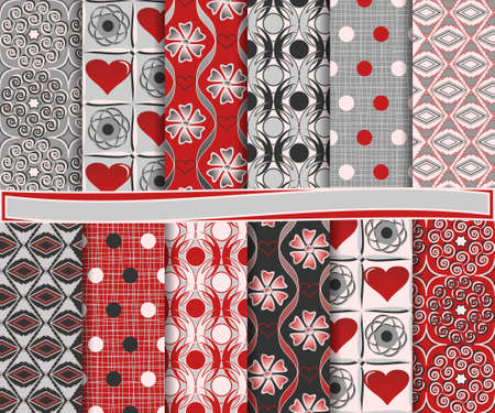 Abstract vector set of paper for scrapbook Valentine's Day Vector