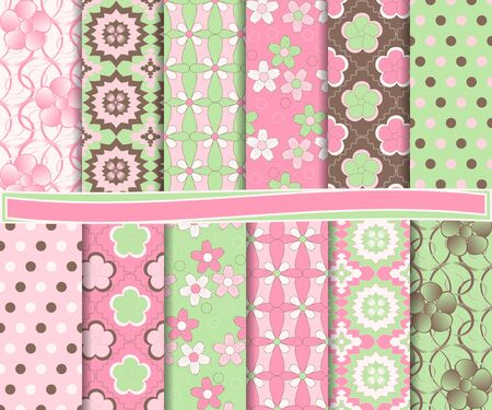 abstract floral vector set of paper for scrapbook
